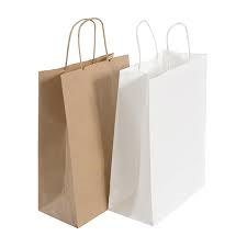 Paper Carrier Bags brown white twisted or tape handles