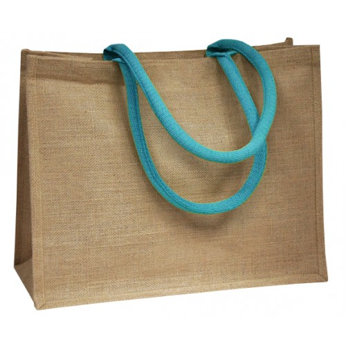Blue Coloured Handle Jute Bag