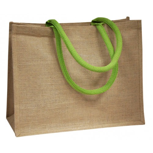 Lime green Coloured Handle Jute Bag
