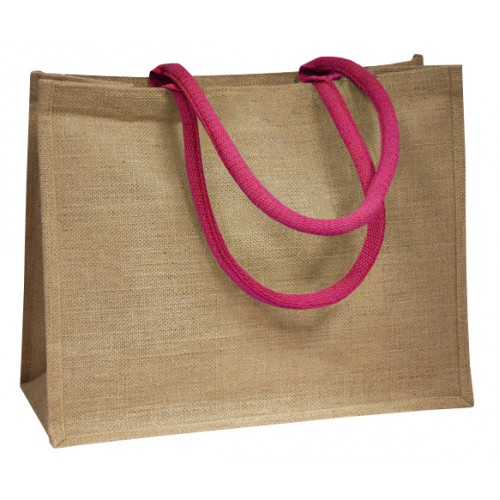 Pink Coloured Handle Jute Bag