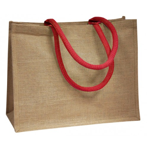 Red Coloured Handle Jute Bag