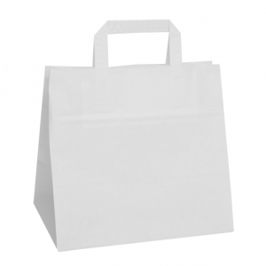 White Wide Base Tape Handle Paper Carrier Bags